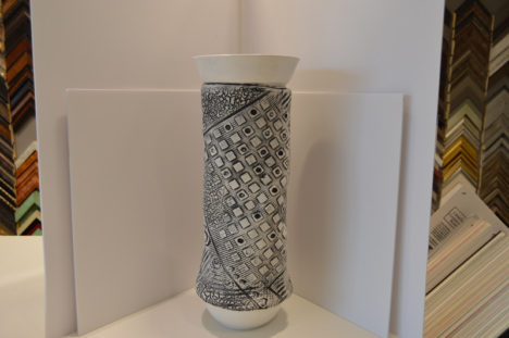Black and White Fabric Vase