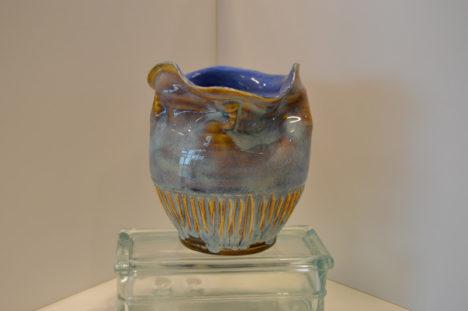 Blue Wrinkled Bowl