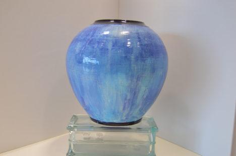 Large Blue Pot with Black Rim