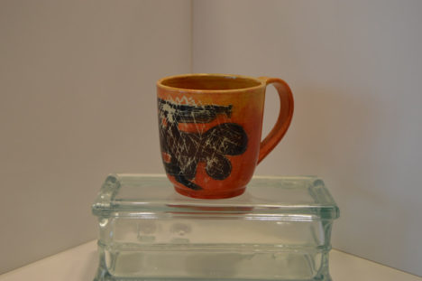 Orange Cup with Scratched Drawing