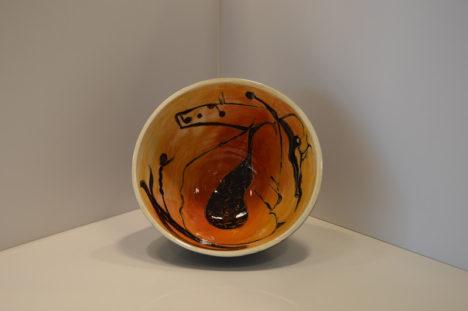 Orange and Black Bowl with Black Bottom
