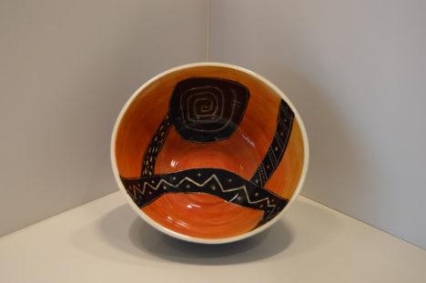 Orange and Black Bowl with Orange Bottom