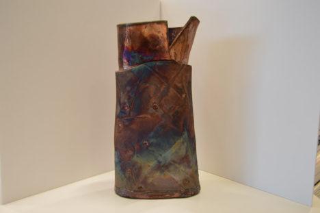 Raku Vase with Copper Squares
