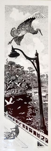 Evening Egrets BW